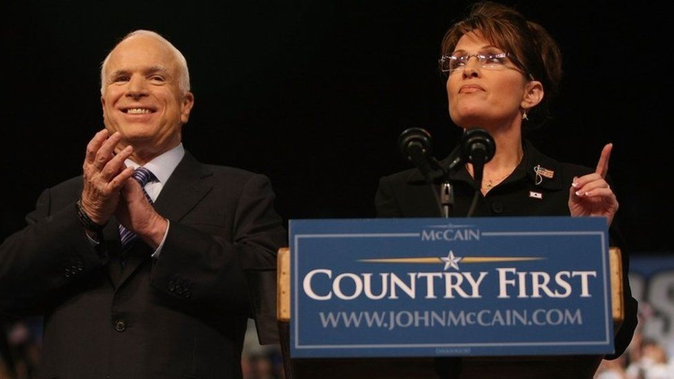 Sarah Palin speaks as presumptive Republican presidential nominee John McCain looks on at a campaign rally August 29, 2008
