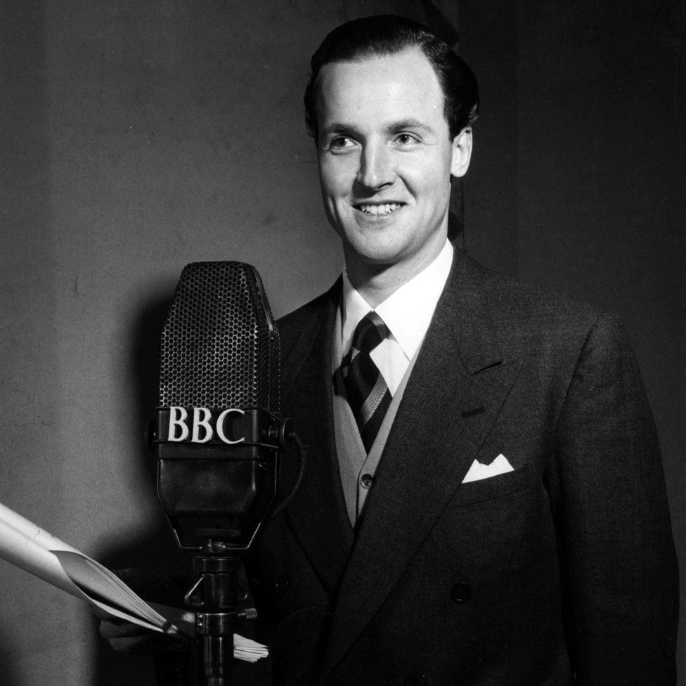 Nicholas Parsons acting in BBC Radio's Much-Binding-in-the-Marsh in 1954