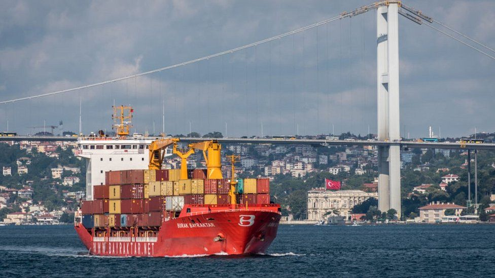 Cargo ship in Bosphorus, 9 Aug 18
