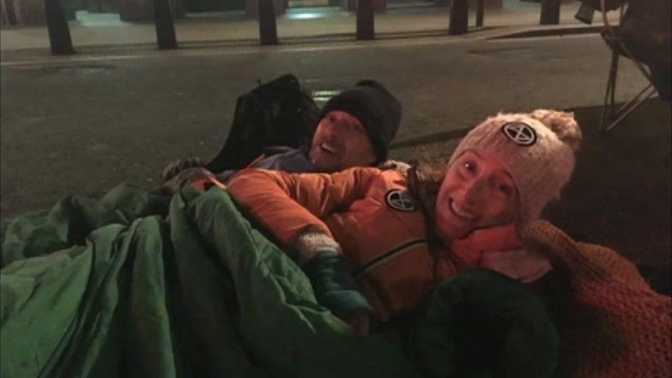 Adam Shipp and Jackie Jones in a sleeping bag