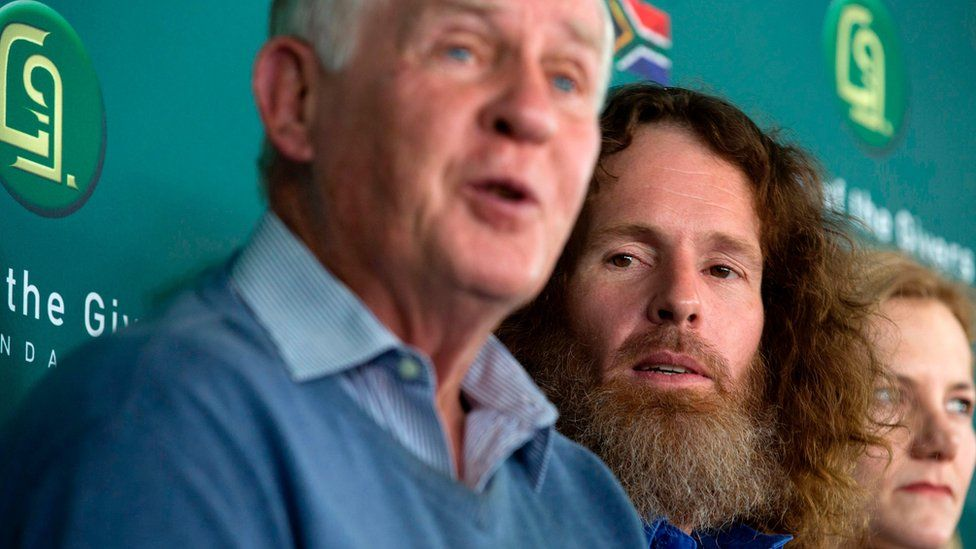 Stephen McGown speaks during a press conference with relative in Johannesburg