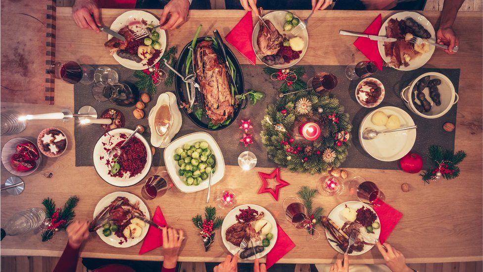 A table of Christmas food