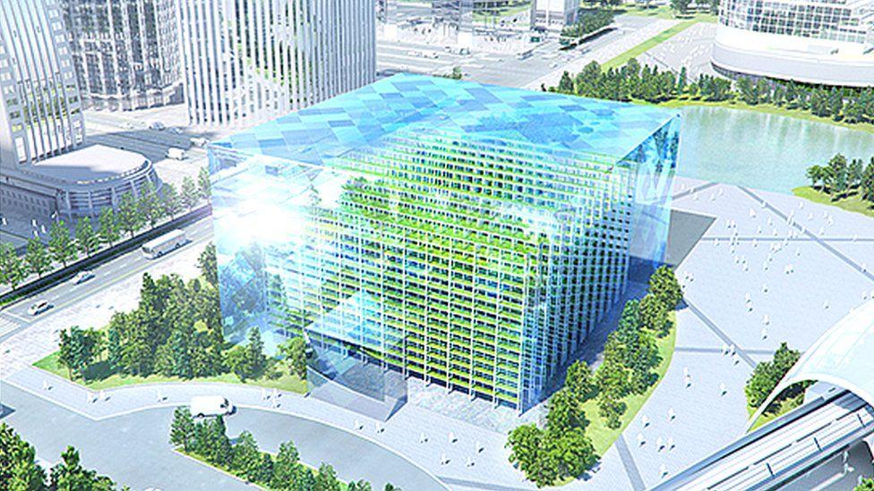 Concept image of glass box urban farm