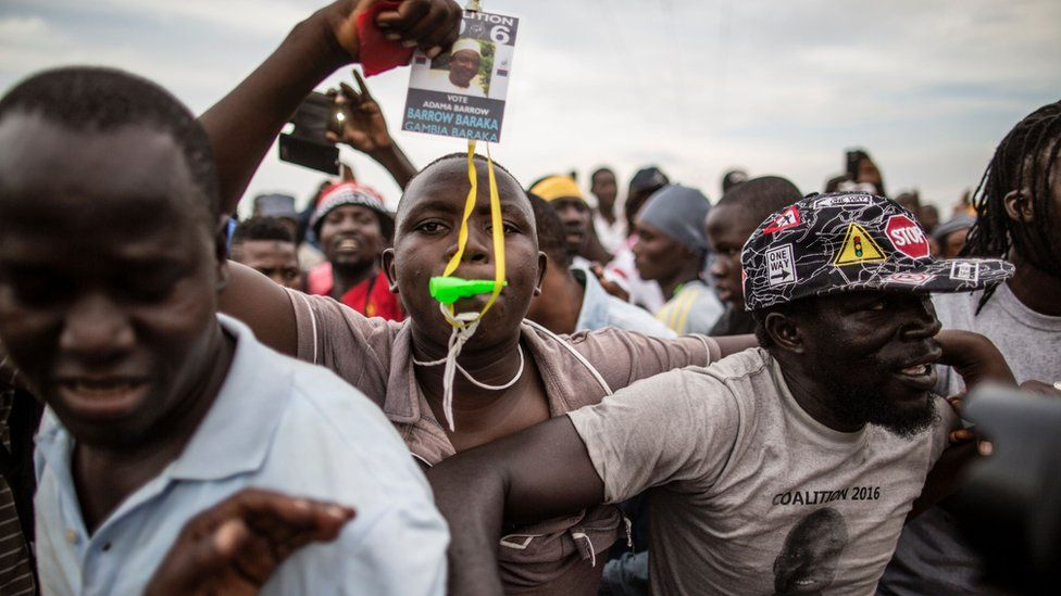 Supporters of Adama Barrow in The Gambia