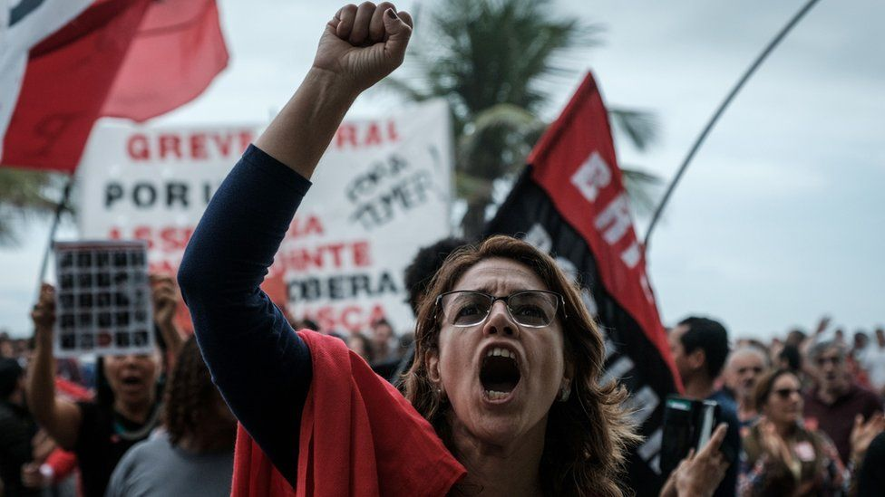 Protester against President Michel Temer in Rio de Janeiro, Brazil, on May 21, 2017