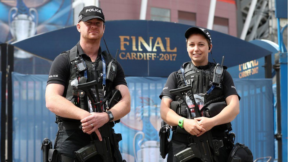 Security was tight in Cardiff city centre