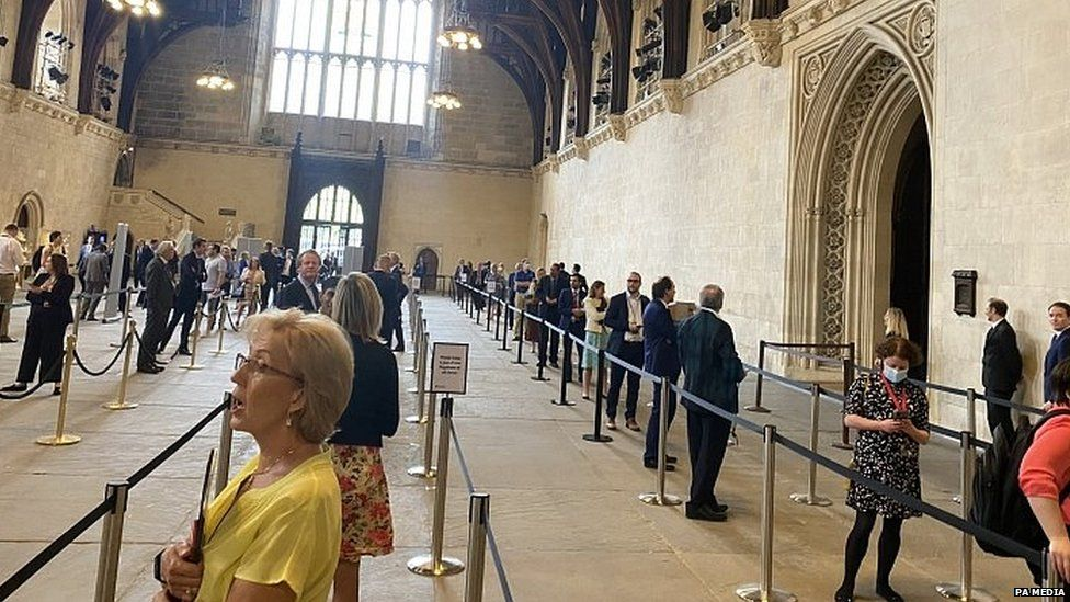 MPs queuing to vote in Westminster Hall
