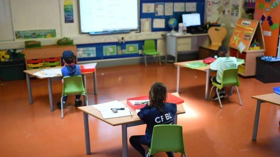 A classroom in north London set up for new socially-distant learning