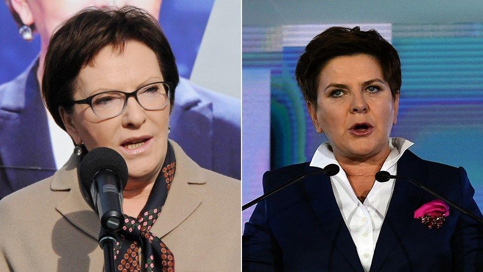 Candidates for Polish prime minister, Ewa Kopacz (left) and Beata Szydlo (right) - 24 October 2015