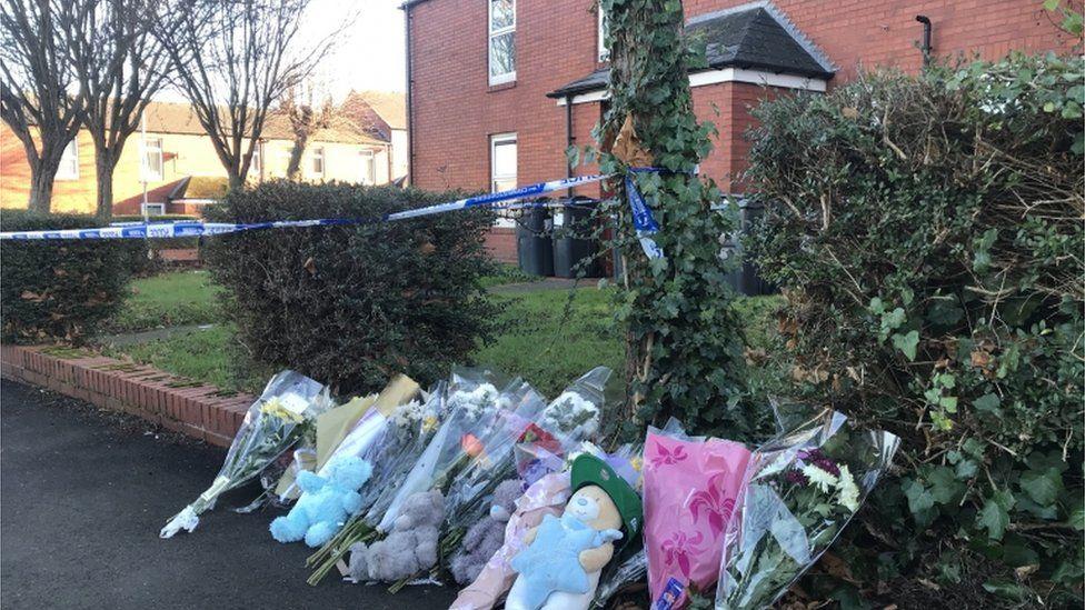 Tributes left outside the scene in Nechells, Birmingham