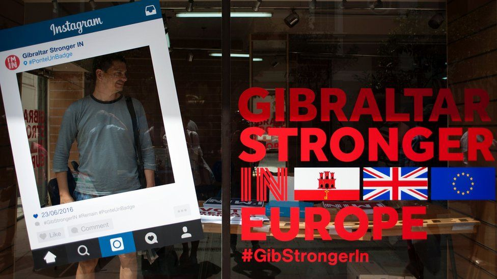 A man stands in a Remain campaign office during the referendum on whether the United Kingdom should stay in or leave the European Union in Gibraltar on 23 June