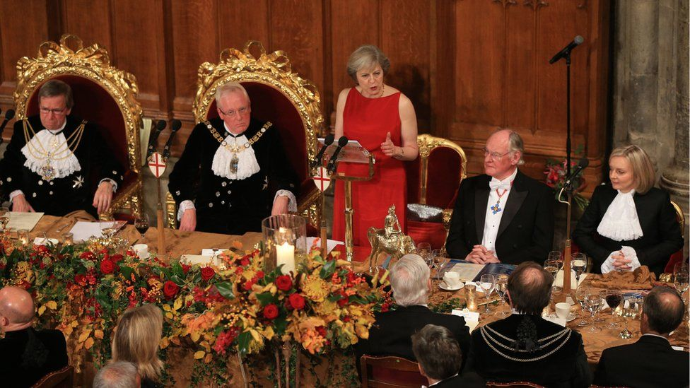 Prime Minister Theresa May speaks at the annual Lord Mayor's Banquet