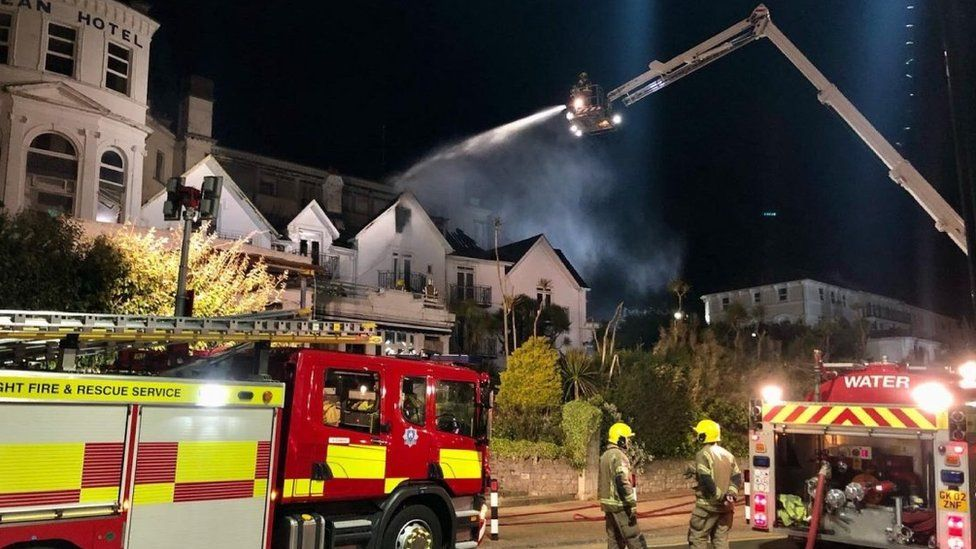 Firefighters tackle blaze at Ocean Hotel in Sandown