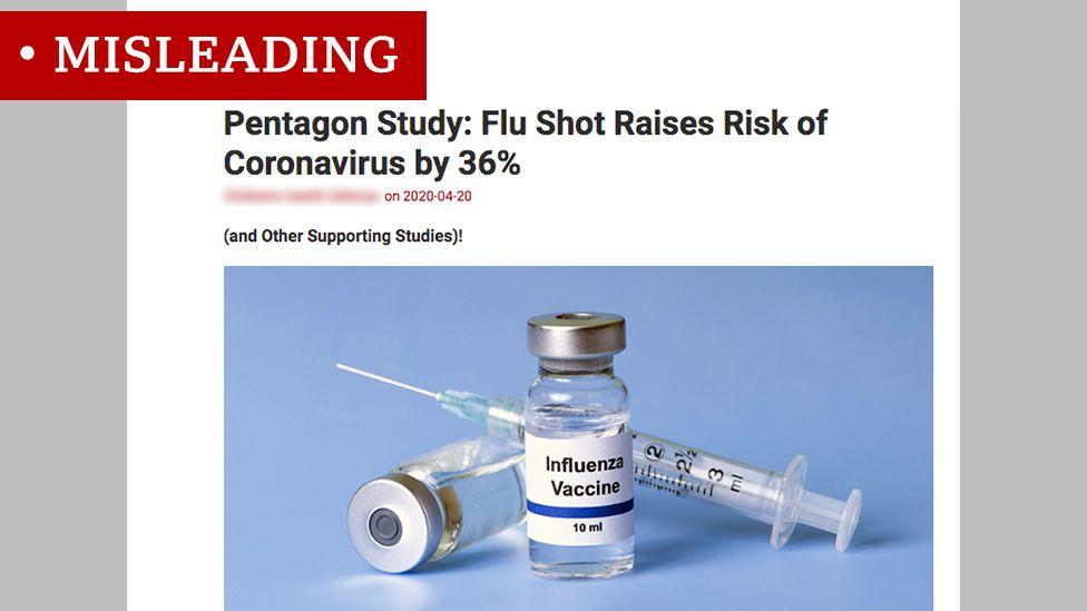 Screen grab of flu vaccine headline labelled misleading