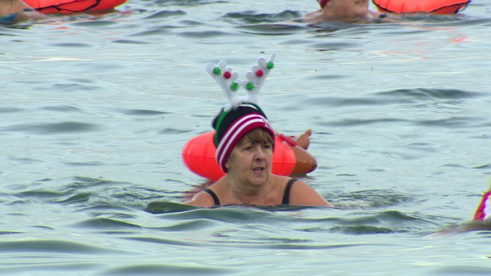 Lesley Aiken swimming in water off coast of County Down