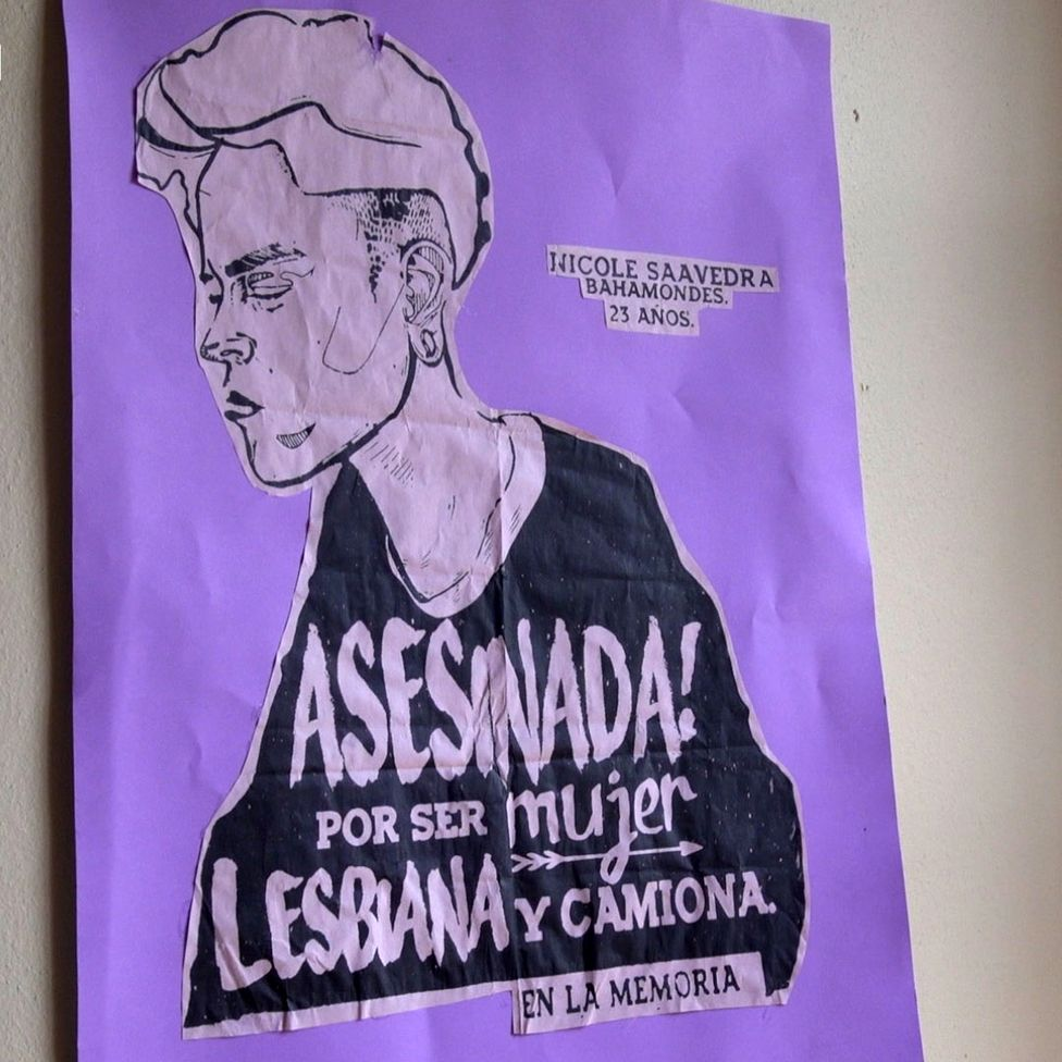 Poster depicting Nicole Saavedra Bahamondes in the headquarters of Lesbians Breaking the Silence