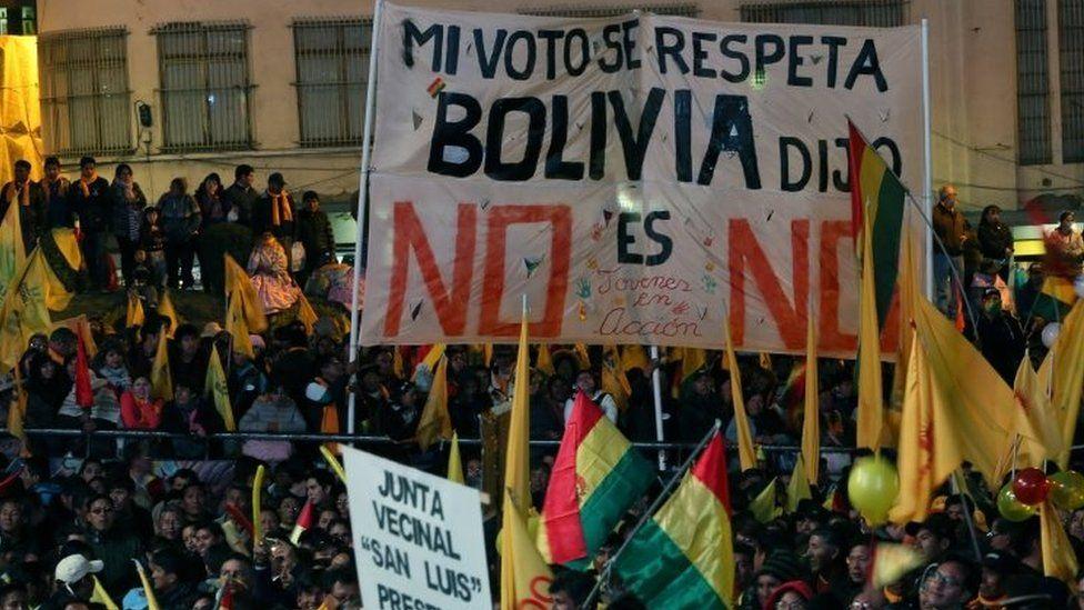 Anti-Morales protesters rally in La Paz. Photo: 10 October 2017