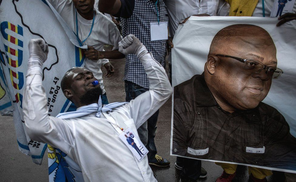 Tshisekedi supporter celebrating