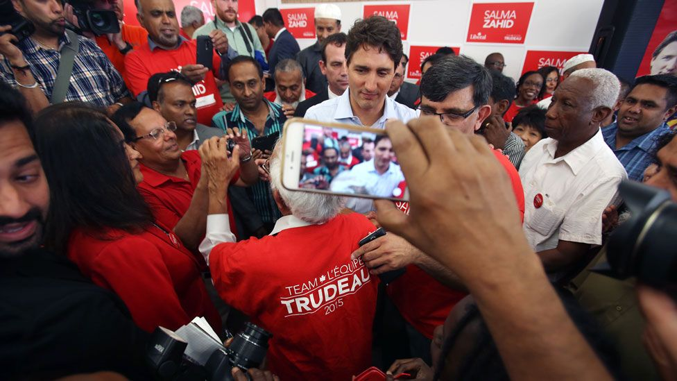 Trudeau with fans in Toronto