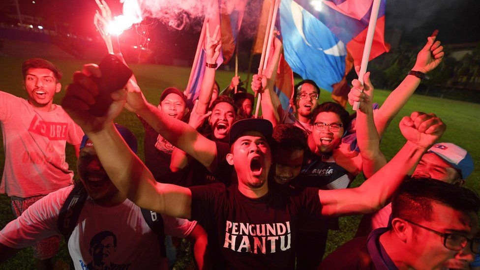 Supporters of Mahathir Mohamad celebrate in Kuala Lumpur on early May 10, 2018