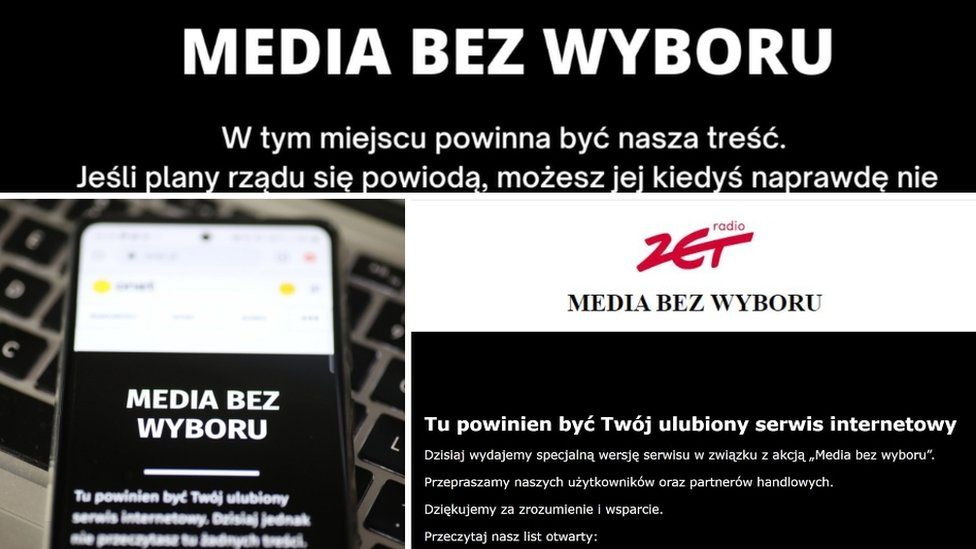 """Websites' front pages carried messages including the simple slogan """"media without choice"""""""