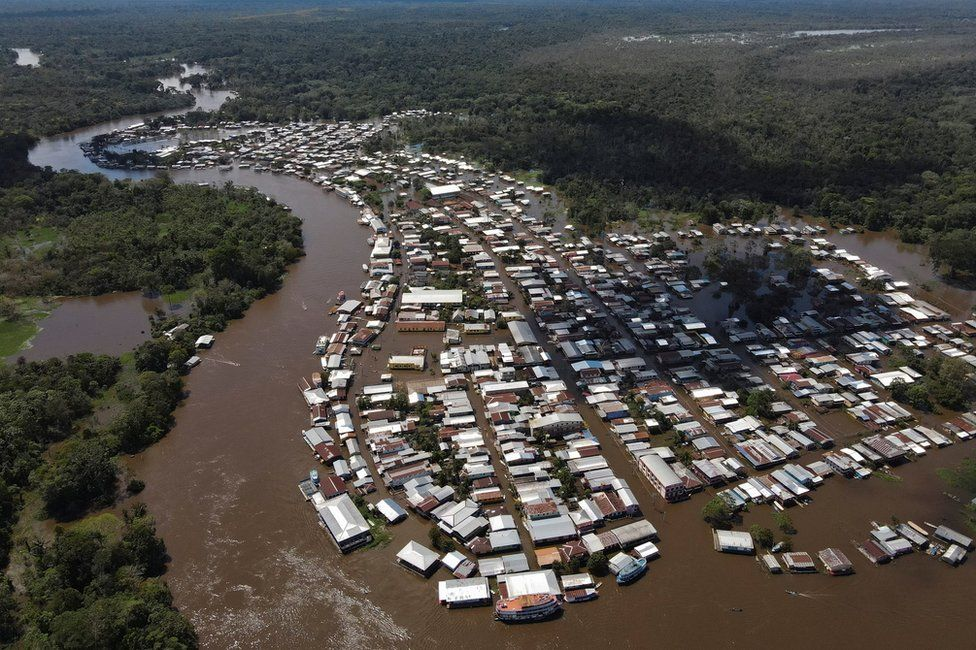 An aerial view of the town of Anama, flooded by water from the Solimoes river