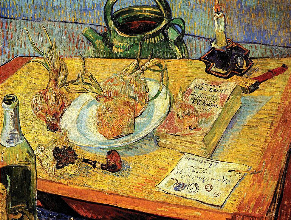 """""""Bodegón con pipa, cebollas y cera para sellar"""" de Vincent van Gogh."""