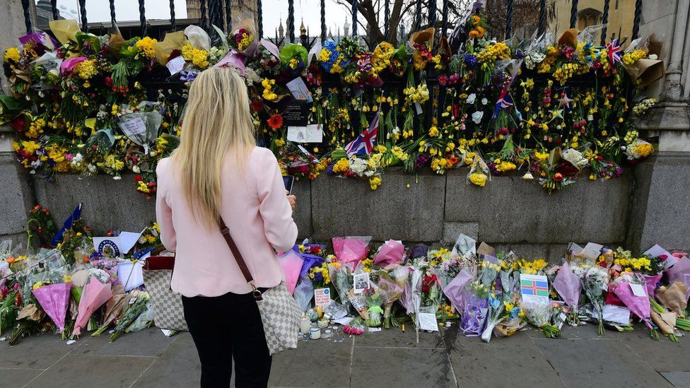 Floral tributes outside Parliament on 27 March 2017