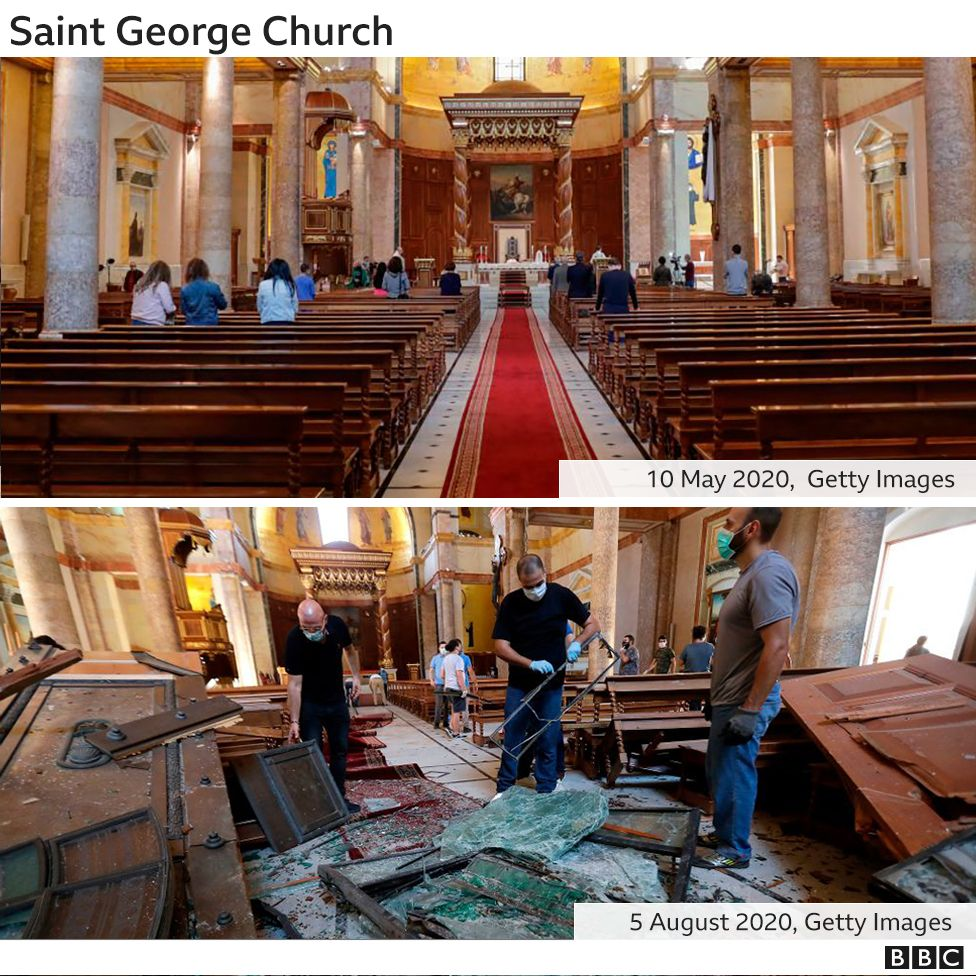 Destruction inside the Saint George Maronite Church on 5 August 2020