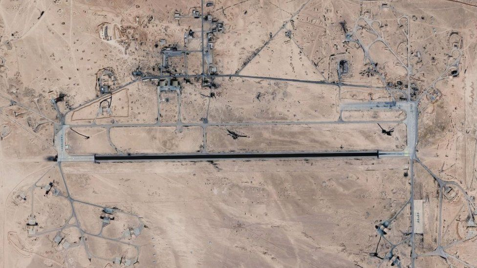 Satellite image showing T4/Tiyas airbase in central Syria (2018)
