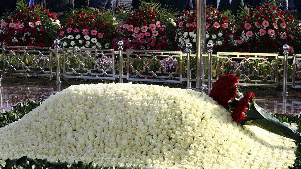 The tomb of late Uzbek president Islam Karimov in Samarkand, Uzbekistan, Friday, Nov. 18, 2016.
