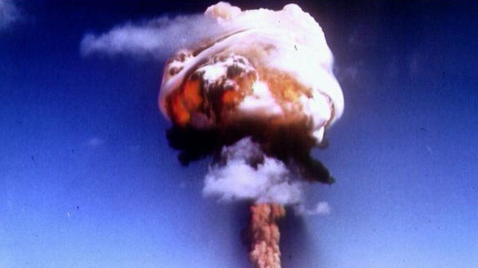 A nuclear bomb testing explosion