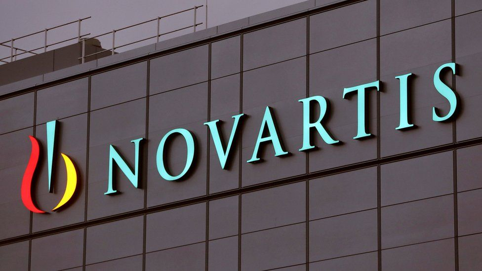 The Novartis logo is seen on the side of its plant in Stein, Switzerland