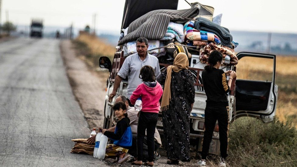 Families have been fleeing in the Syria-Turkey border region
