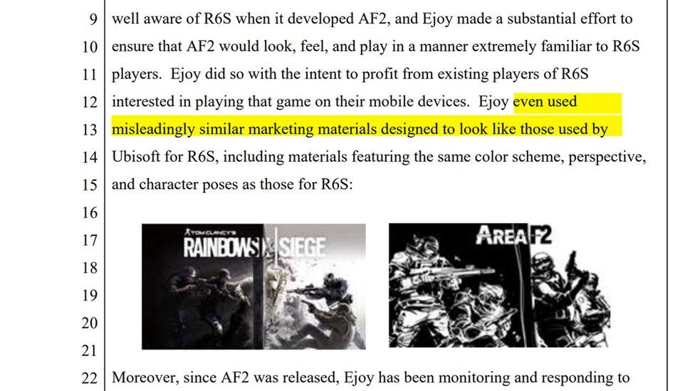 A highlighted section of a court document shows the allegation that even marketing materials were copied