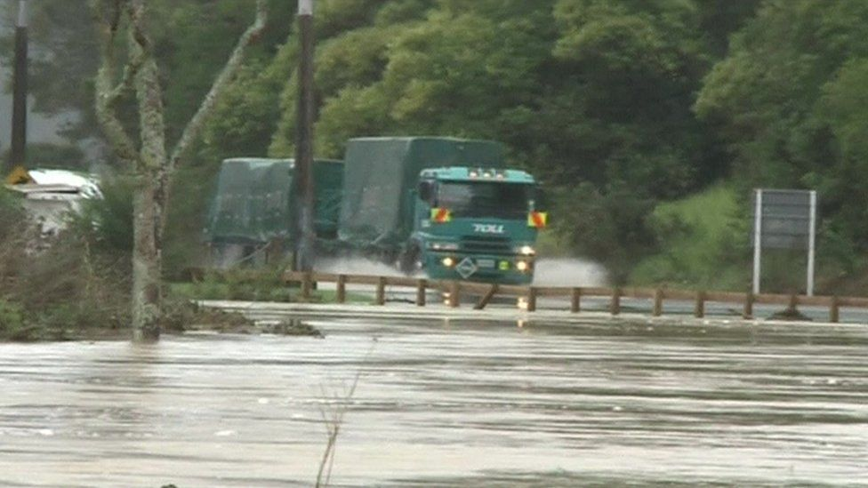 Truck on flooded road, Kaeo north NZ