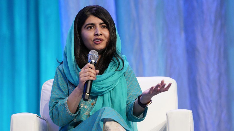 Co-founder of Malala Fund and a Nobel Laureate Malala Yousafzai speaks on stage at Massachusetts Conference For Women 2019