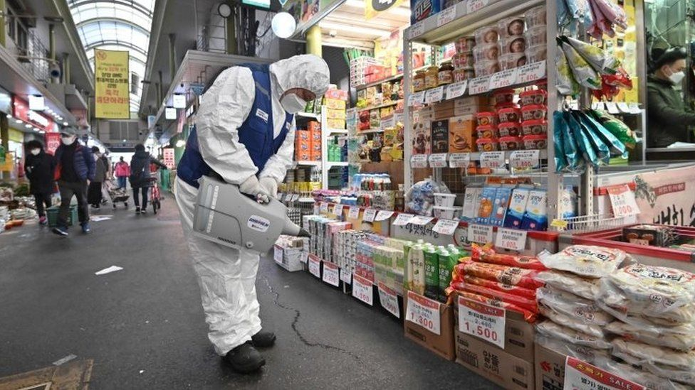 A worker sprays disinfectant to help prevent the spread of the novel coronavirus at a market in Seoul