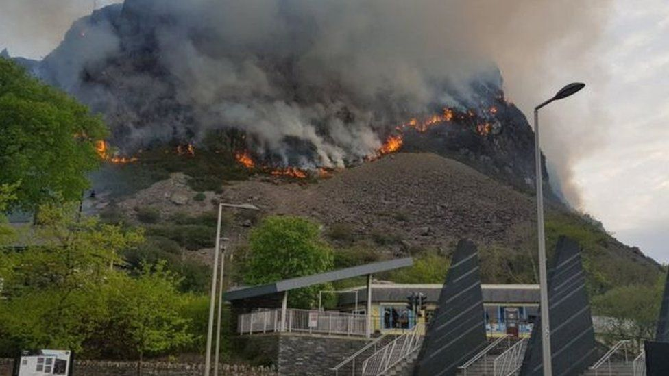 A mountain in Snowdonia on fire