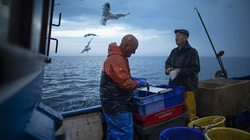 fishermen in the English Channel, August 2020