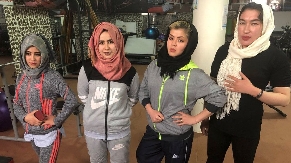 Afghan women in the gym
