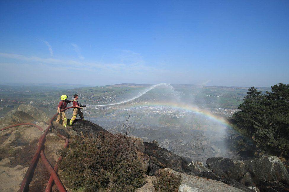 Firefighters tackle a moor blaze