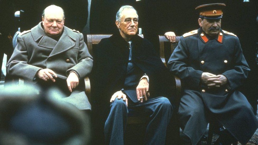 Winston Churchill, Franklin Roosevelt and Joseph Stalin
