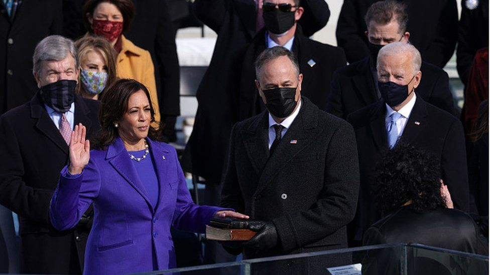 Kamala Harris takes oath as US vice president