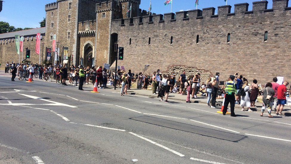 They gathered peacefully outside city's castle on Sunday
