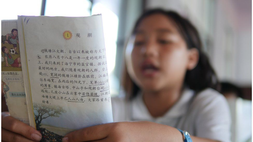A school pupil reads from a textbook written in Chinese.