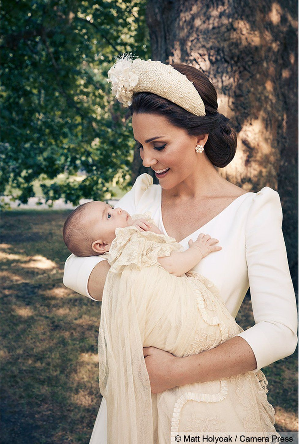 Duchess of Cambridge and Prince Louis at christening