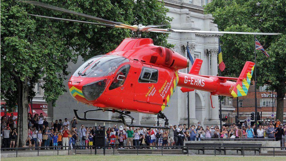 The London Air Ambulance lands near Marble Arch