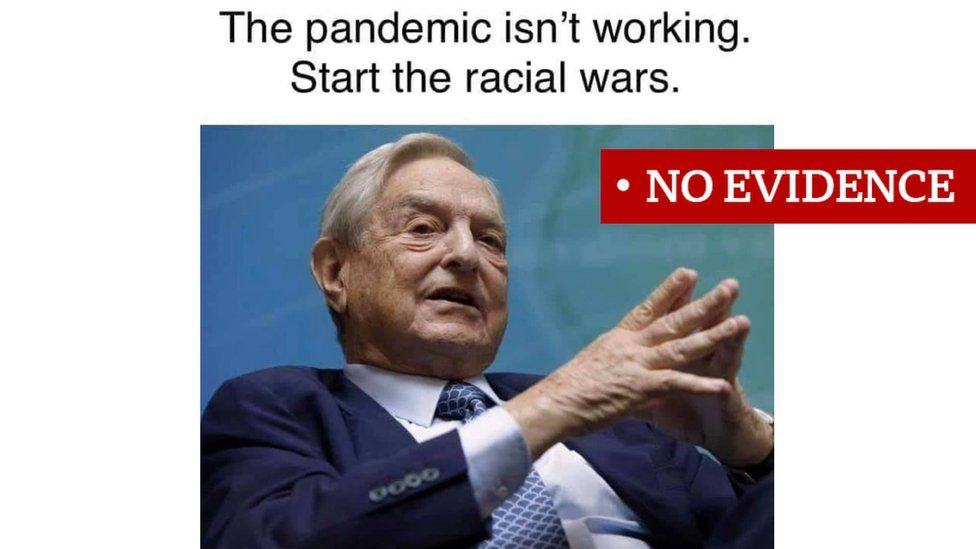 Screenshot of a meme about George Soros