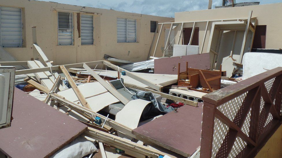 The upstairs living quarters of Barbuda's police station where officers were sheltering when the storm hit